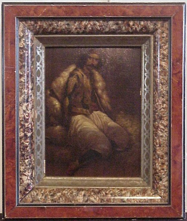 "2004: Seated Turkish man, oil on print, 9"" x 7"", framed"
