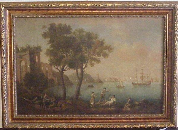 2011: 18/19thc Italian harbor scene with boats, figures