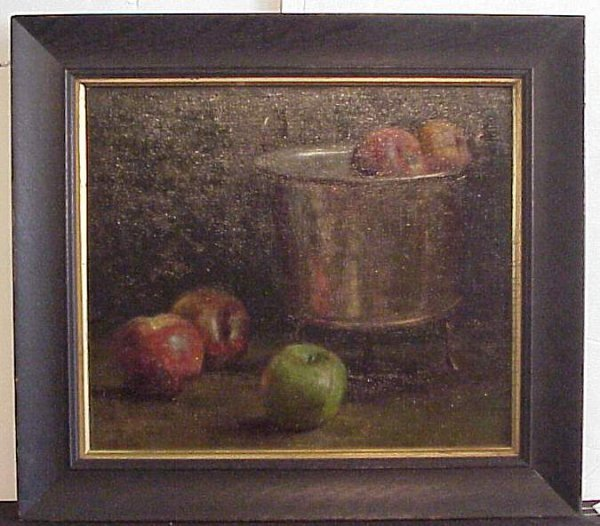 2014: Still life with apples, oil on board, unsigned, 1