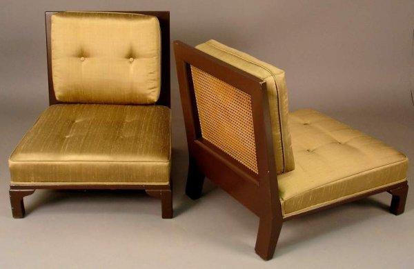 105: Poss. Modernage, pair of Slipper Chairs, machine