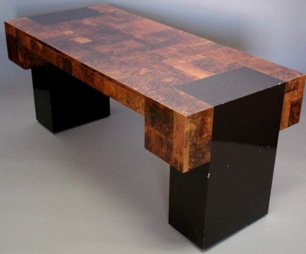 Paul Evans Cityscape kneehole desk with two drawe