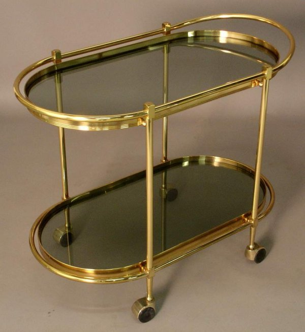 20: Italian brass teacart with smoked glass shelves