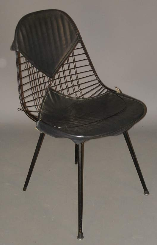 8: Herman Miller side chair, wire with bikini cover,  s