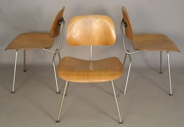 15: 3 early Charles Eames for Herman Miller DCMs, foil