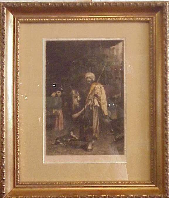 """1026: """"The Old Clothes Dealer"""", hand colored aquatint"""