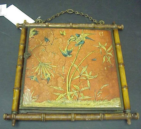 1027: Bamboo and chinoiserie tri fold shaving mirror,