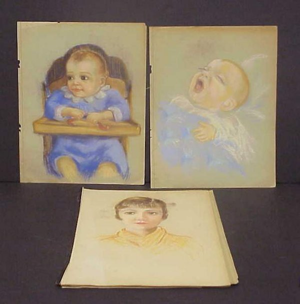 1039: Portfolio of charcoal drawings, portraits,  child