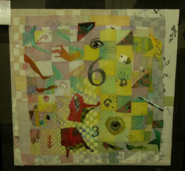 """1041: Modern embroidered and fabric collage, 22"""" x 22"""","""