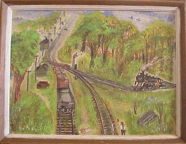 "1044: ""D + H Yard"", Outsider Art, oil on board, signed,"