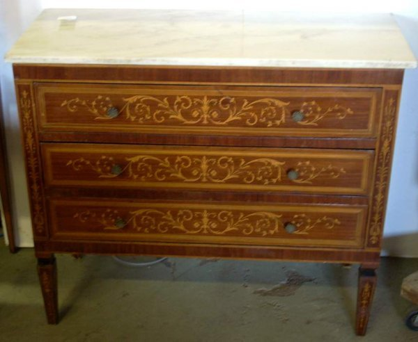 1045: Italian marquetry three drawer commode with marbl