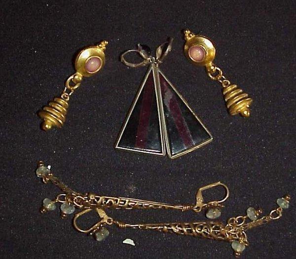 """1007: 3 pr Art Deco earrings, 2""""-3 1/2""""L, one missing"""