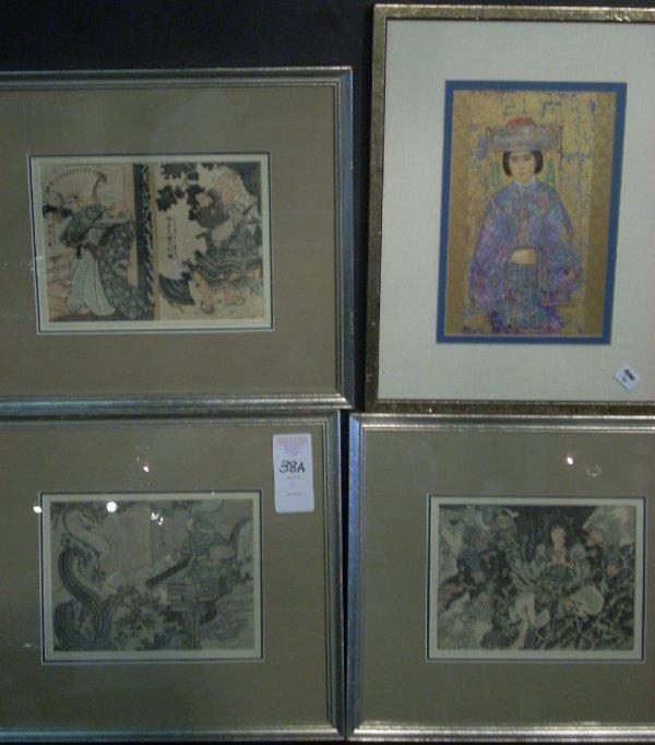 "1038A: 3 Chinese wood block prints 5 1/2"" x 7 3/4"",  fr"