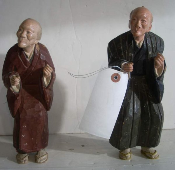 2011: Pair 19th C Japanese carved and painted figures,