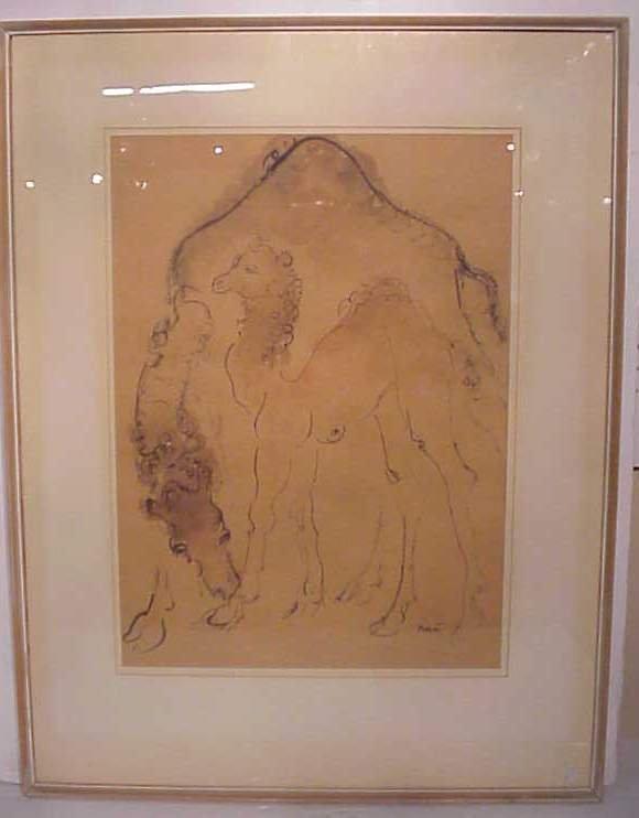 2082: Reuvin Rubin (1893-1974 Romania) Camels,  waterco