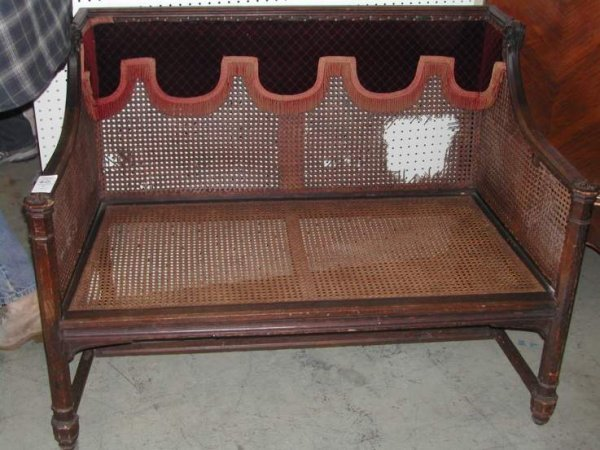 2020: Gothic style settee, caned sides and back as  fou