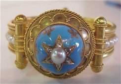 2186 18k gold natural pearl diamond and enamel  brac