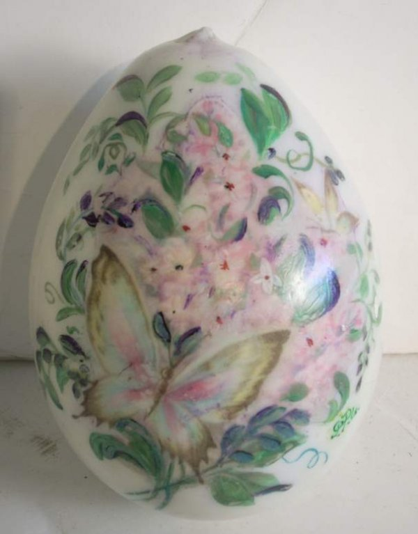 2003: Hand painted glass egg decorated with butterfly