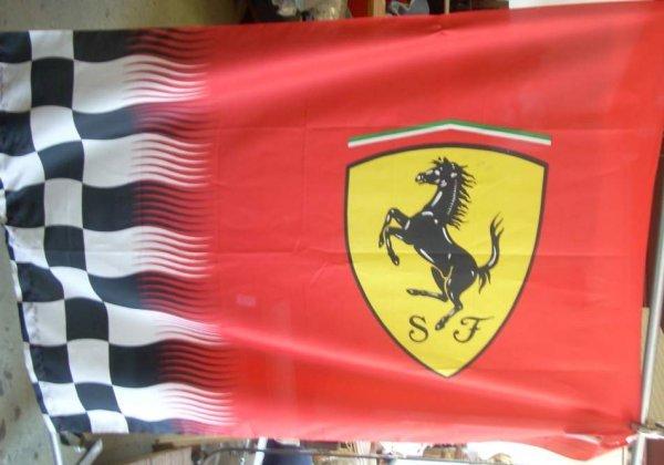 "2007A: Ferrari racing flag nylon, large size 71"" x 54"""