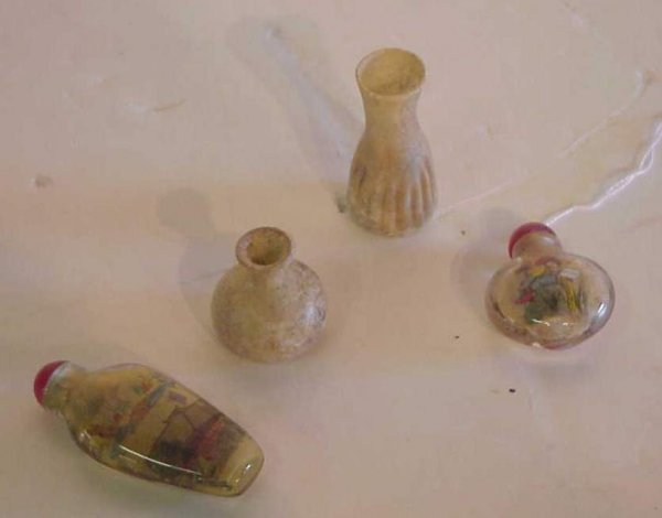 """2015A: 2 early Roman glass vessels, 2 1/2""""h and 1 1/2""""h"""