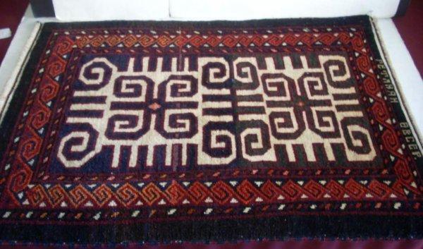 """2025A: Semi antique Persian small rug, 25"""" x 34"""""""