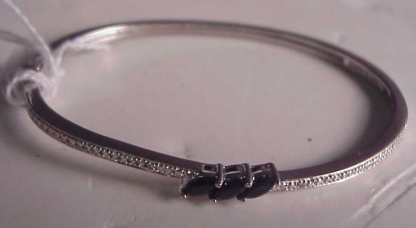 2010A: Sterling and sapphire bangle bracelet