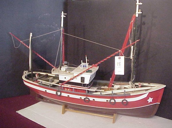 "2018: Lobster fishing boat model, 45""L, 28""h"