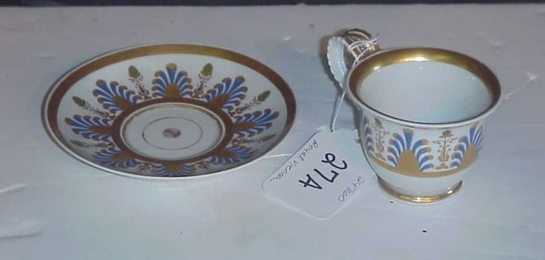 2027A: Royal Vienna 19th C cup and saucer, bee hive mar