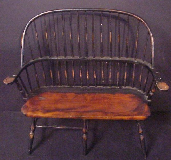 """3014: Miniature Windsor bench, 15 1/4""""h, 17""""w, missing"""