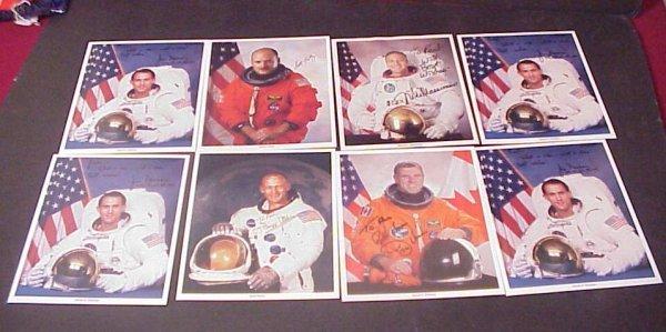 3027: 8 Astronaut autographed colored photos, Buzz  Ald