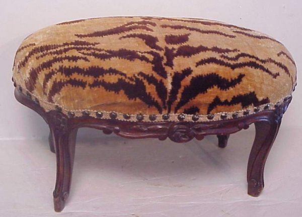 3034: French style oval footstool with Brunschwig tiger