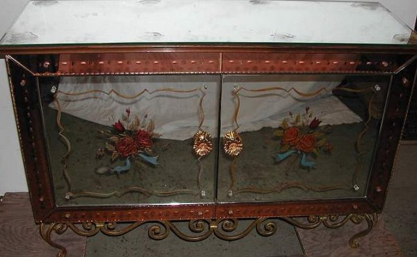 3110: Mid century reverse painted mirrored credenza on