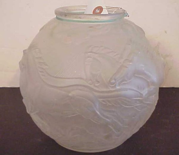 3015A: Art Deco style  frosted glass vase with horses,