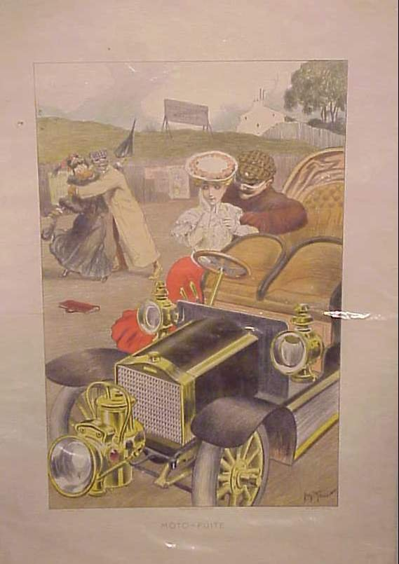 """3019: """"Moto Fuite"""" French automobile advertising poster"""