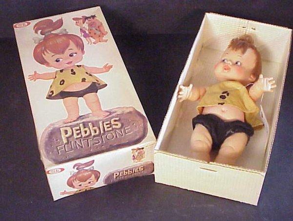 "3002: Pebbles Flintstone boxed doll, Ideal, 14 1/2"" x"