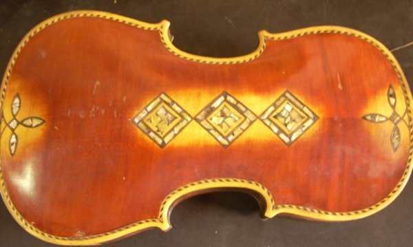 3308A: Antique violin with floral mother of pearl inlay - 5
