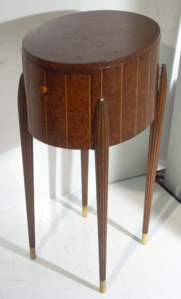 3285: Art Deco burlwood 2 drawer stand with inlay,  mis