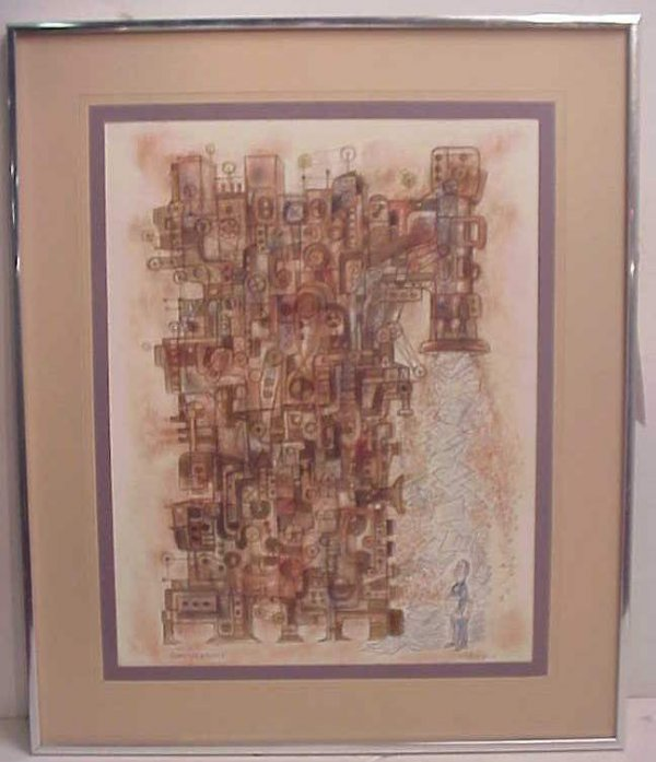 "9: ""Complications"", mid century modern watercolor,  sig"