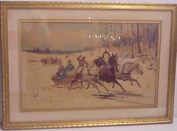 22: Russian painted over troika print, snow scene,  pri