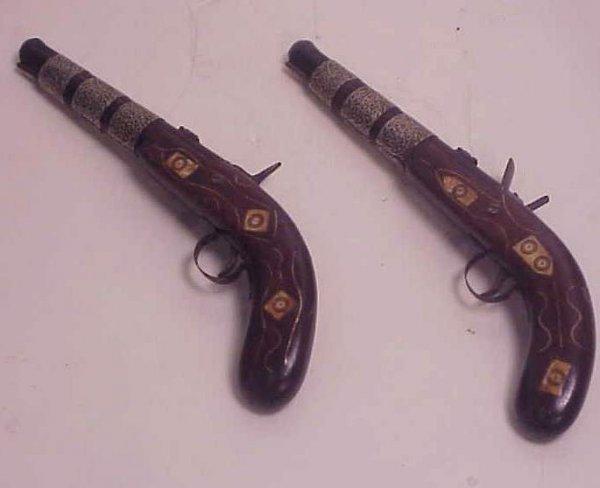23: Pair of reproduction flint lock dueling pistols  wi