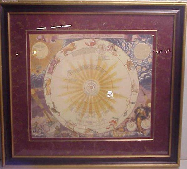 "26: Framed astrological map, late 20thc, 29 1/2"" x 33"""