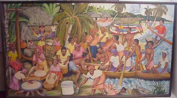 "289: Haitian Village scene, oil on canvas, ""The Bigger"