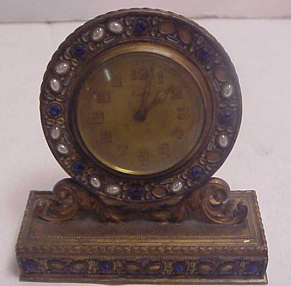 "14: Small French bronze jeweled clock 4 1/2""h x 4""w  ci"