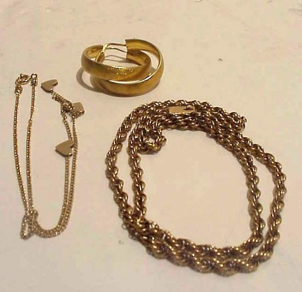 """15A: 14k gold rope chain 18"""", pair of brushed 14k gold"""