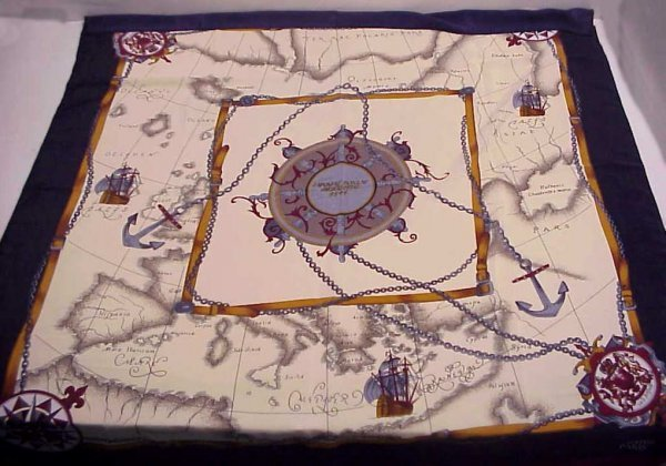 """4: Hermes silk scarf, approx 30"""" x 30"""", small tear at"""