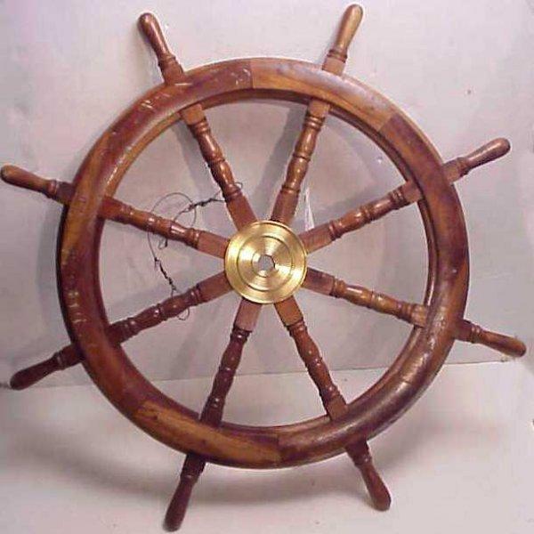"18: Wooden ship wheel, 36"", circa 1950, walnut with  br"