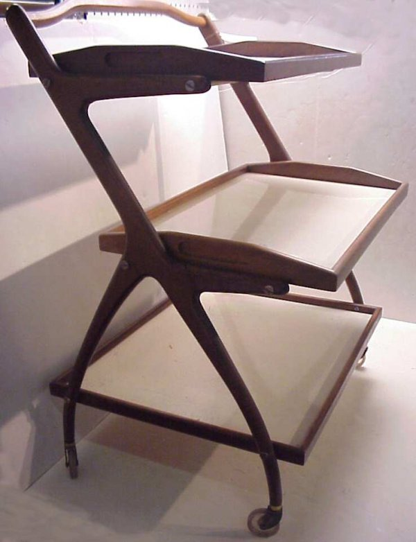20: Danish modern 3 tier rolling cart with removeable