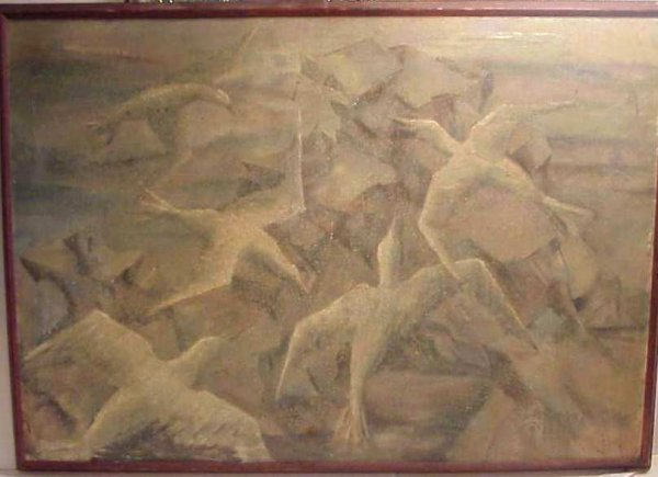 279: Henry Bannarn (1910- ,NY) Seagulls, oil on board,