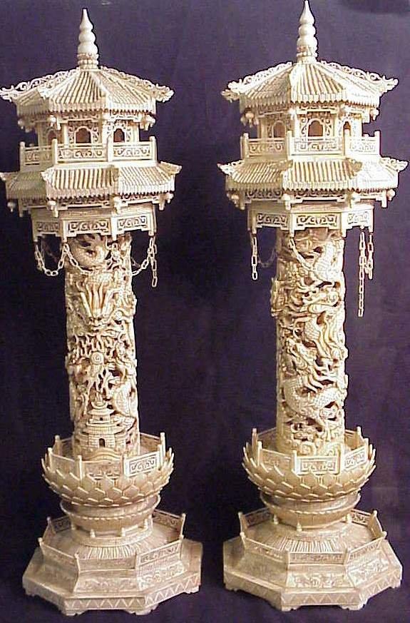1168: Pair of Chinese ornate carved bone pagodas, c.  1