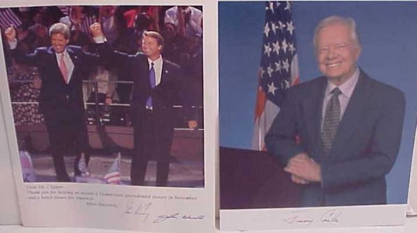 "1017: John Kerry and John Edwards autographed photo  8"""