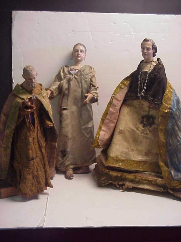 1074: Group of 3 Italian Creshe figures, painted gesso